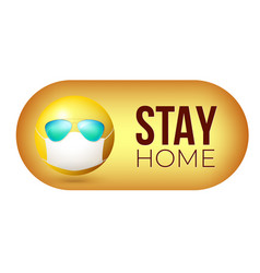 Stay home yellow emoji in face mask vector