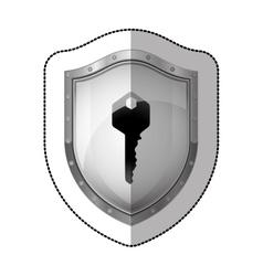 Sticker metallic shield with silhouette key vector