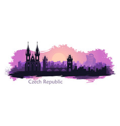 stylized landscape prague with main sights vector image