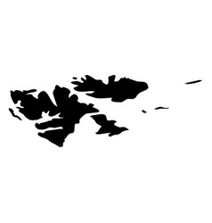 svalbard islands - solid black silhouette map of vector image