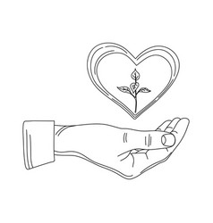 the heart on arm and sprout in it the vector image