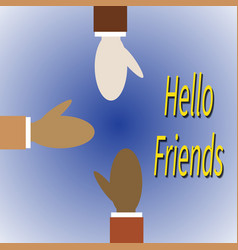 Three friends different races greet each other vector