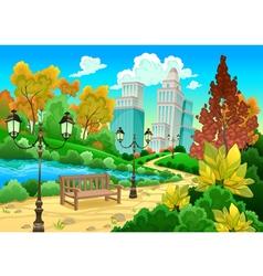 Urban scenery in a natural garden vector image