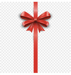 vertical red silk gift bow with ribbon isolated vector image