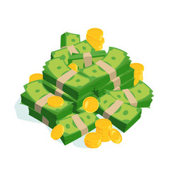 Very large bundles of money and coins vector
