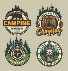 Vintage colorful camping badges vector