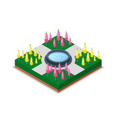 Water pool and flowers in park isometric 3d icon vector