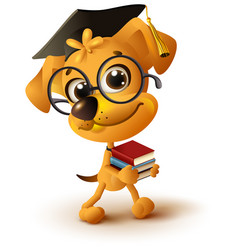 Yellow dog teacher holds stack of books vector
