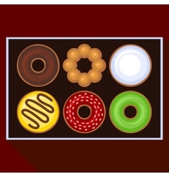Donuts Collection Icons Set in Box vector image