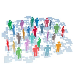human resources group connection puzzle pieces net vector image vector image