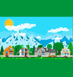 private suburban houses with car vector image vector image