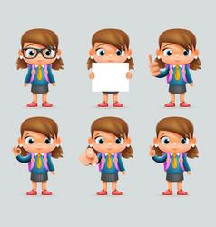 schoolgirl education excellent student genius vector image vector image