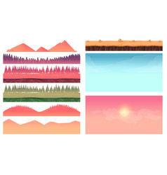 cartoon nature landscape elements set platform vector image vector image