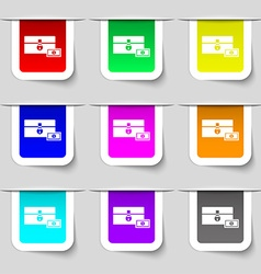 chest icon sign Set of multicolored modern labels vector image