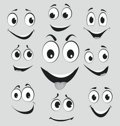 facial expressions cartoon face emotions vector image vector image