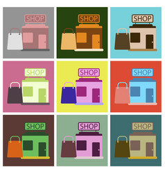 flat icons set shop package vector image vector image