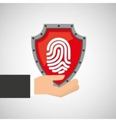 hand holding fingerprint shield protection data vector image vector image