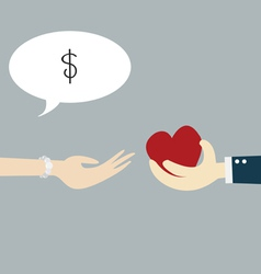 Hand holding heart with concept business vector image