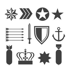 military army elements collection isolated on vector image vector image