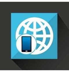 smartphone global social network media icon vector image vector image
