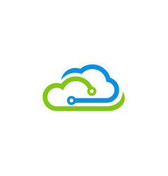 cloud technology digital logo vector image vector image