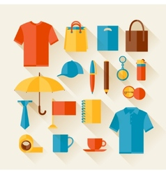 Icon set of promotional gifts and souvenirs vector image vector image