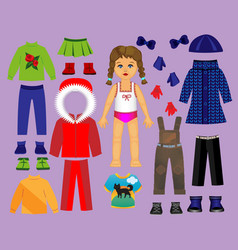 paper doll clothes and set for play and vector image