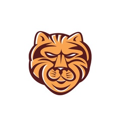 Tiger Head Front Retro vector image vector image