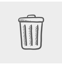 Trash can sketch icon vector image