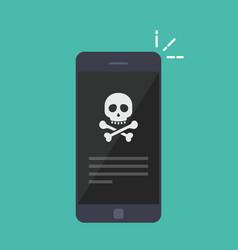 Broken smartphone malware notification on vector