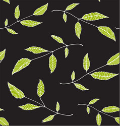 floral seamless pattern background green on black vector image