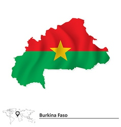 Map of Burkina Faso with flag vector image vector image