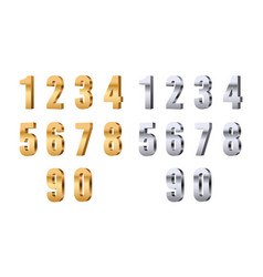 3d numbers gold silver digits stylish beauty vector image