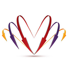 3d set of arrows in the form of heart vector image