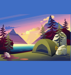 A camping tent in woods flat vector