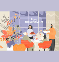 A happy family celebrating thanksgiving vector