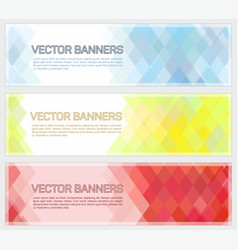 abstract geometric mosaic horizontal banners vector image