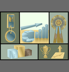 Achievements abstract set vector