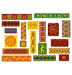 African tribal ornaments set with ethnic patterns vector
