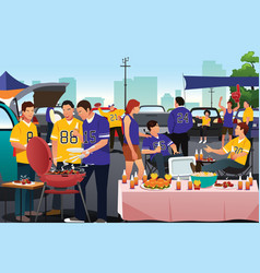 American football fans having a tailgate party vector
