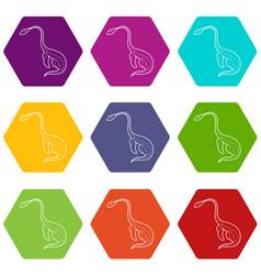 Aquatic dinosaur icons set 9 vector