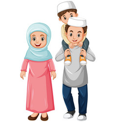 Arab muslim family in color traditional clothing vector