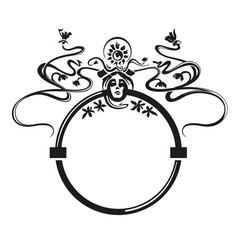 Art nouveau ornament face and floral black vector