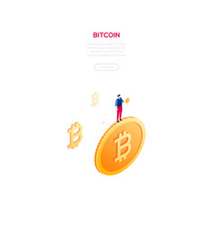 bitcoin concept - modern isometric web vector image
