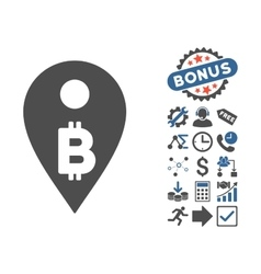 Bitcoin map marker flat icon with bonus vector