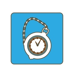 Blue pocket watch icon image vector