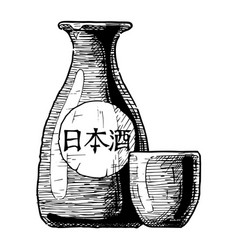 Bottles of japanese alcohol vector