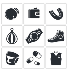 Boxing icon collection vector image