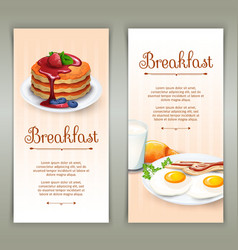 Breakfast 2 vertical banners set vector