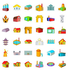 building icons set cartoon style vector image